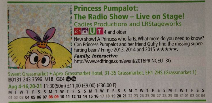 Here is our Edinburgh Fringe programme entry for Princess Pumpalot: The Radio Show - Live on Stage! The show is on at Sweet Venues, Apex Grasssmarket (4th to 16th, 20 & 21st August).  TICKETS: https://tickets.edfringe.com/whats-on/princess-pumpalot-the-radio-show-live-on-stage