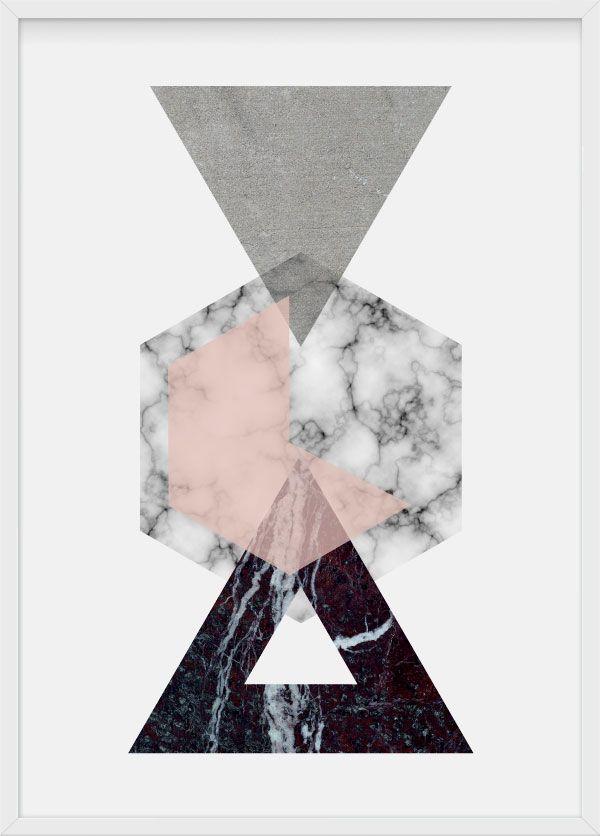 Material world, illustration by Julia Kaiser #material #symmetry #hexagon #hexagonal #geometrical #shape #geometry #minimalism #pastels #marble #concrete #stone #wood #artprint #limitededition