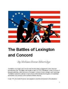 This text set includes the following: The Battles of Lexington and Concord The Concord Hymn Background on the Concord Hymn Quotation by Samuel Adams Samuel Adams and the Boston Tea Party with questions Paul Revere and the Battles of Concord and Lexington with questions