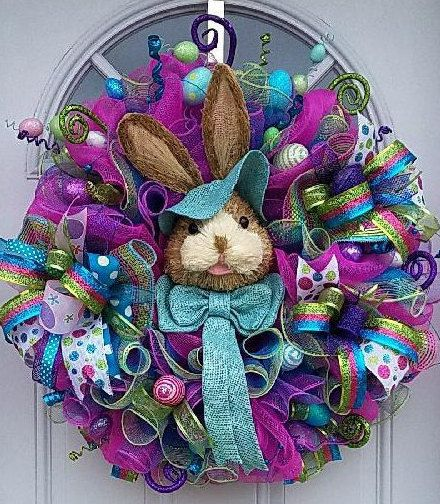New...Absolutely Fun Happy Easter Bunny Wreath by TheRobinsNestMI
