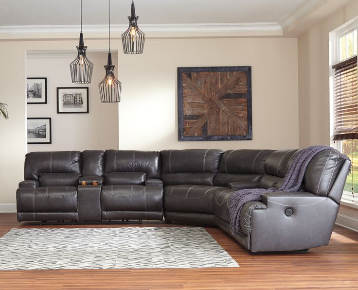 McCaskill Collection U60900 100% Genuine Leather Sectional with Power Recliners by Ashley Furniture