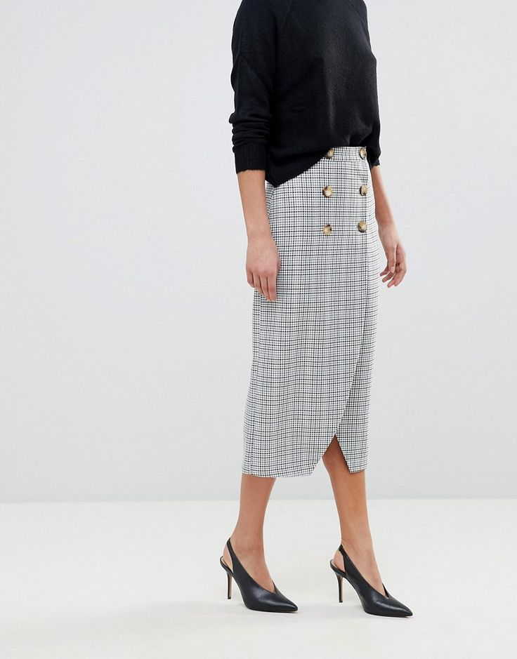 tailored midi skirt, check wrap midi skirt, work clothes women affordable, work clothes women young business casual