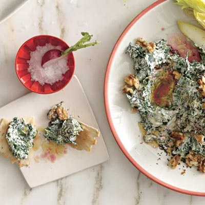 Racheal Ray's Super Bowl Spinach-Yogurt Dip with Pomegranate & Walnuts