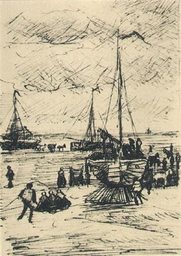Beach and Boats - Vincent van Gogh, ink 1882
