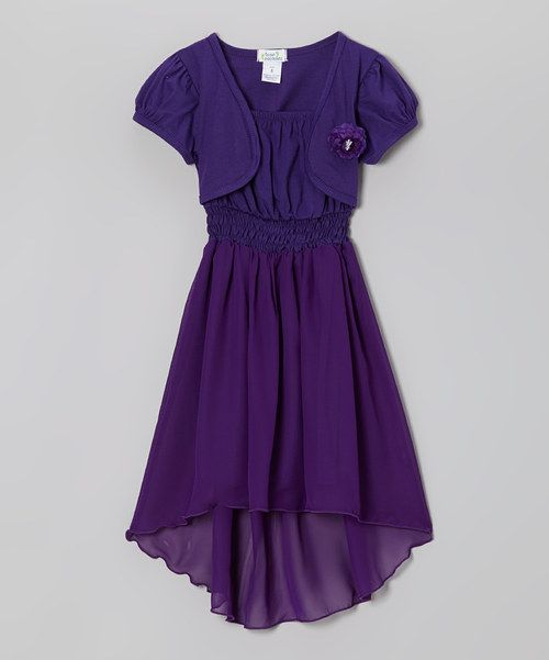 Take a look at the Littoe Potatoes Purple Built-In Shrug Hi-Low Dress - Toddler & Girls on #zulily today!