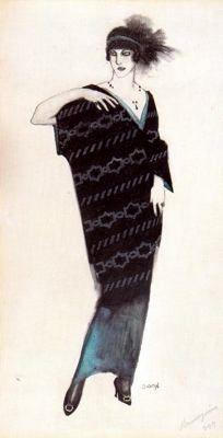 """""""Mannequin o Modelo de abrigo de señora"""". Lápiz, tinta, témpera sobre cartón. 22…"""