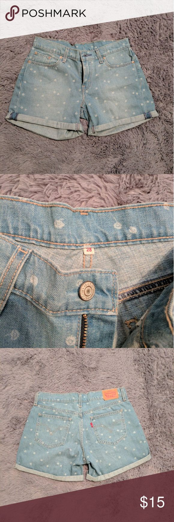 Levi Strauss Women's Shorts 28 Levi Strauss Women's Shorts 28 Cute Polka Dot Shorts, like new My mom gave them to me, they were too small for her and a little big for me Fits like a Medium Levi's Shorts Jean Shorts