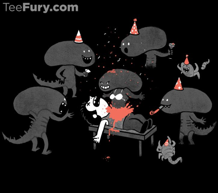 I love creating designs that show monsters in unusual situations. I like to ask myself the questions: How would a monster celebrate their birthday? How would they have fun? After all, they need to relax too after a hard day of human-hunting!  @teefury