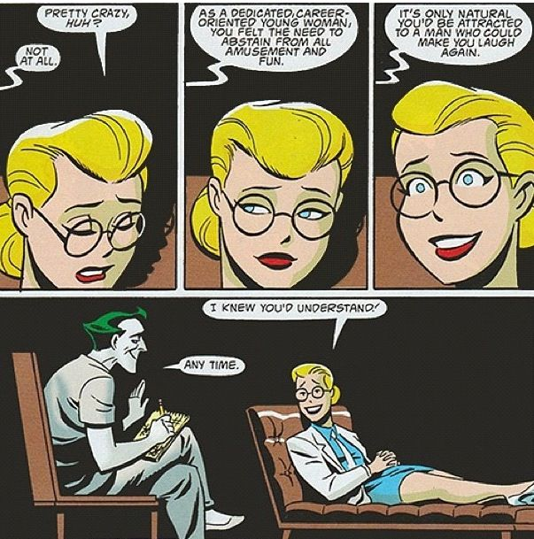 Therapy session with Harley Quinn and The Joker. It's so sweet! I ship it soooo hard!!