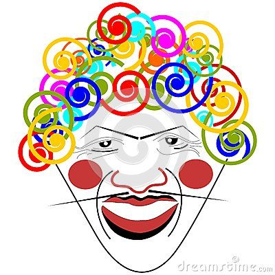 Portrait of clown, vector illustration.