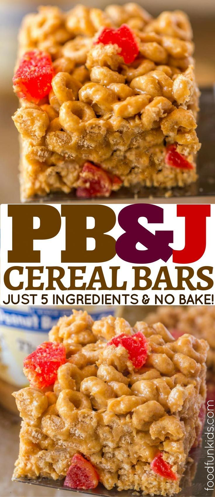 Peanut Butter and Jelly Cereal Bars with just five ingredients are the easiest no-bake school lunch snack your kids will LOVE!