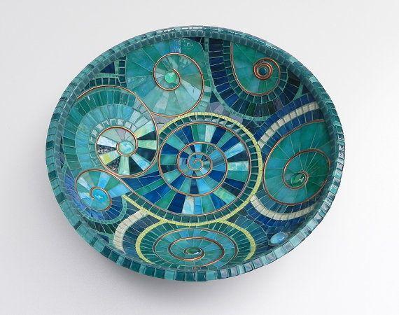 Mosaikkunst-türkise Mosaik Schale Schüssel von NewArtsonline