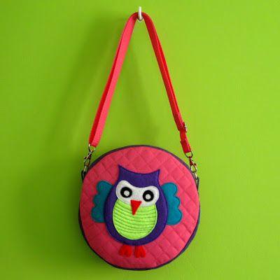 lukola handmade // Pikowana Okrągła z Sową // Quilted Round Bag with Owl