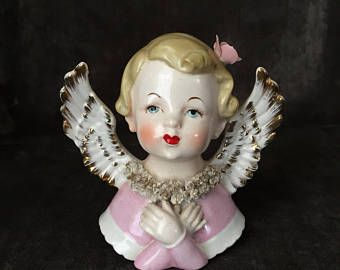 Vintage hand painted esd Japan praying angel cherub bust figure statue