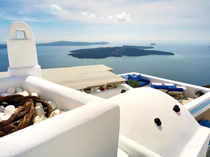 Perched high above the Aegean in the village of Imerovigli, this old-meets-new hotel has been carved into Santorini's ancient caldera wall. Set within Cycladic cave dwellings, the 22 terraced suites are whitewashed and Wi-Fi-equipped, with four-layer beds and Aesop bath products. Some have jetted grotto pools