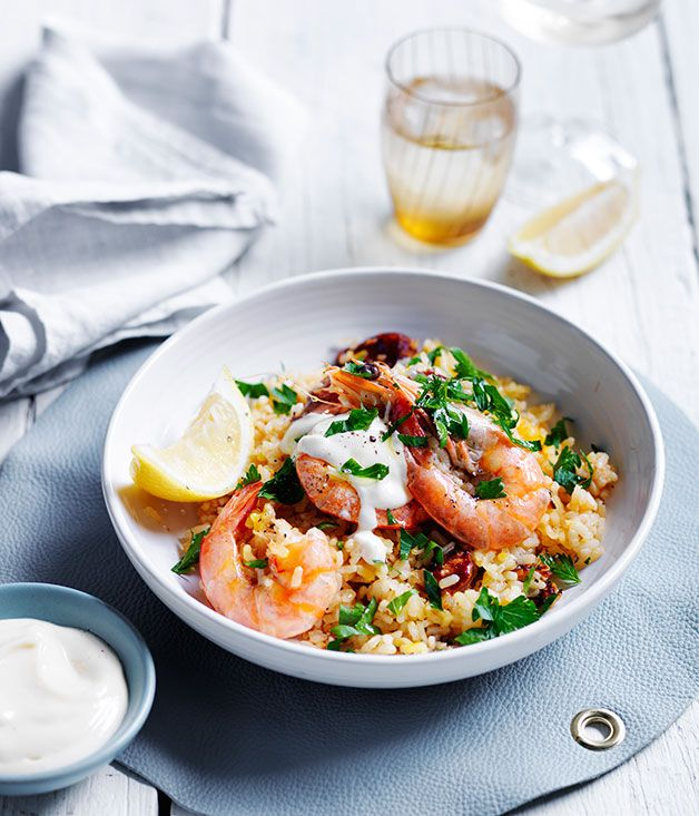 There's paella and then there are other simple Spanish rice dishes. This is one of the latter - a combination of prawns and chorizo with Spanish rice.