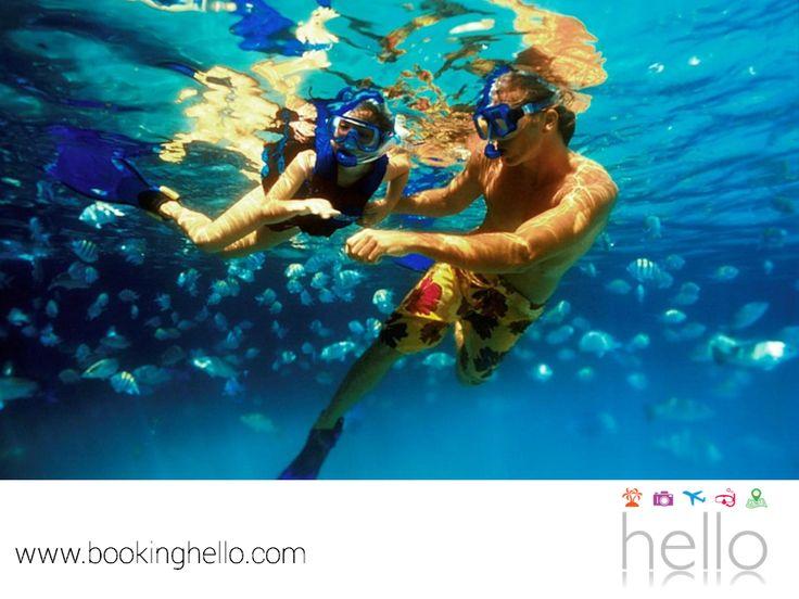 VIAJES EN PAREJA. El snorkeling es la práctica de buceo que se hace a ras del agua y aunque no te sumerges a las profundidades, puedes apreciar la belleza que guardan las aguas del Mar Caribe, una experiencia que tú y tu pareja, no pueden dejar de realizar durante su viaje. En Booking Hello te recordamos que tenemos las mejores tarifas en packs all inclusive, para que además de una estancia relajante, también agregues un poco de aventura. Si deseas más información, visita nuestro sitio en…