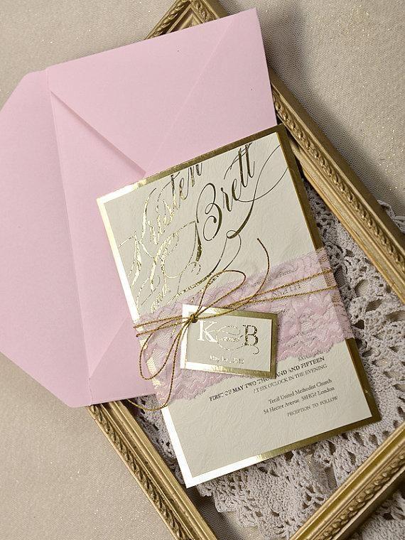 Gold And Pink Wedding Invitations Custom Listing 20 Pink And Gold Wedding Invitation Wedding Pink Lace Invitations Glamour Inviation 4lovepolkadots New