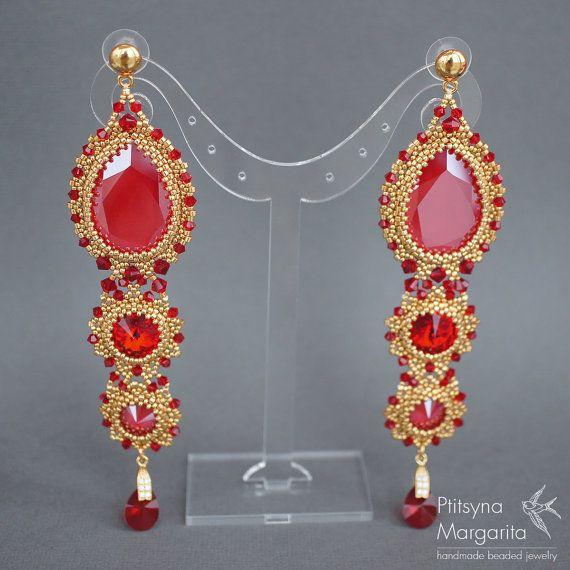 Royal Red - long beaded earrings with Swarovski crystals, beadwork earrings, beadwoven earrings, woven earrings, bead weaving, big earrings