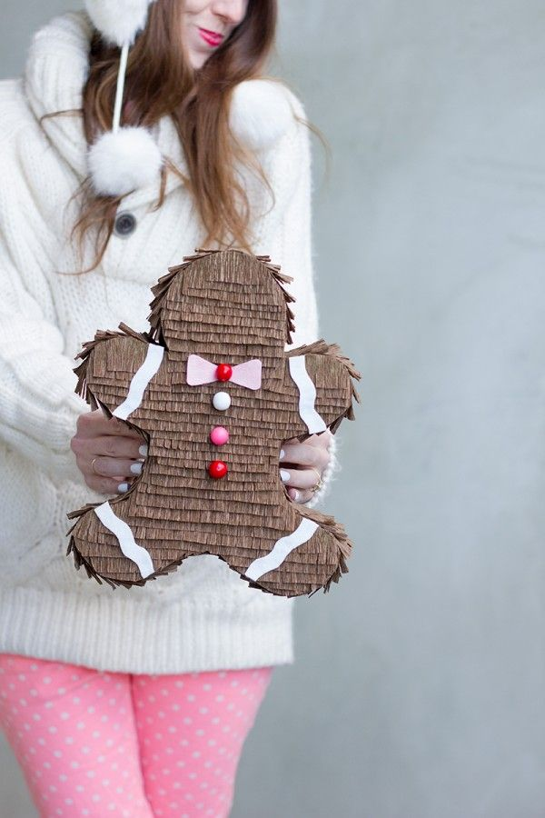 I adore this DIY Gingerbread Man Piñata