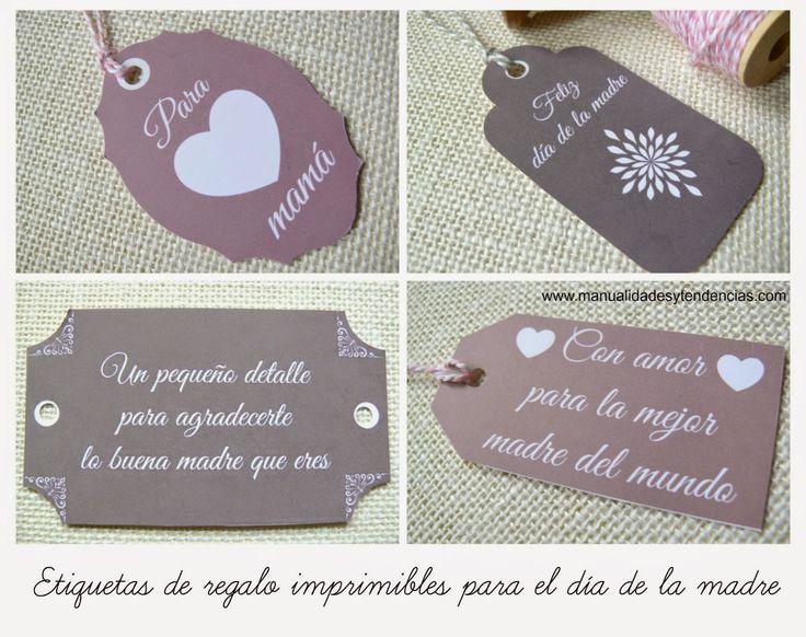 Etiquetas regalo para el día de la madre / Mother's day gift tags www.manualidadesytendencias.com  #díadelamadre #freebies #imprimibles