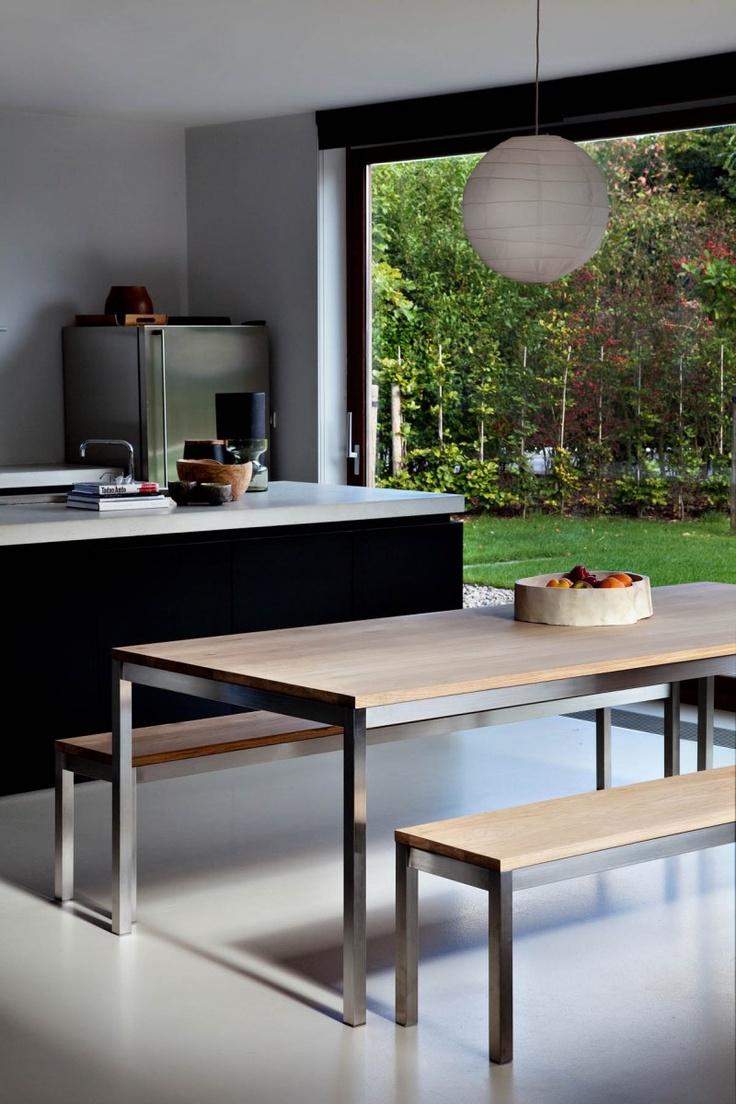 Eiken tafel Basic rvs - Alle Pilat - Woonwinkel & Meubelmakerij Friesland