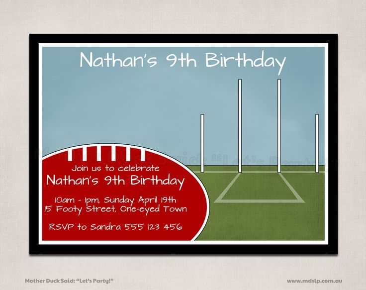 """Mother Duck Said: """"Lets Party!"""": Footy - Aussie Rules Themed Birthday Invitation and Party Printables"""