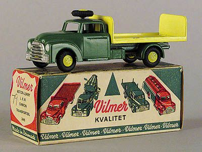 Vilmer (Denmark) No.348 Flat bed Truck with Tailboard - green, yellow