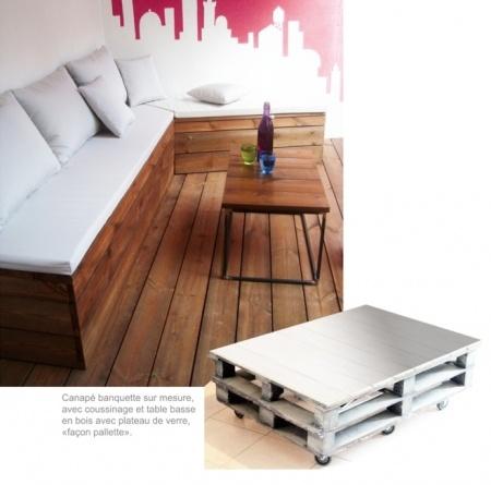 Une terrasse plus moderne banquettes et design for Banquette palette recup