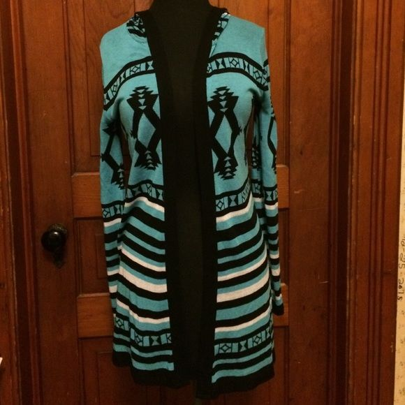 Tribal Print Cardigan Blue, Black, and White tribal print cardigan, NEVER WORN removed tags before I tried it on and doesn't fit Rue 21 Tops Camisoles