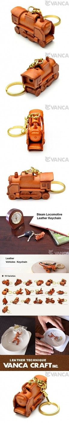 Steam Locomotive Leather Vehicles KH Keychain VANCA CRAFT-Collectible keyring Made in Japan