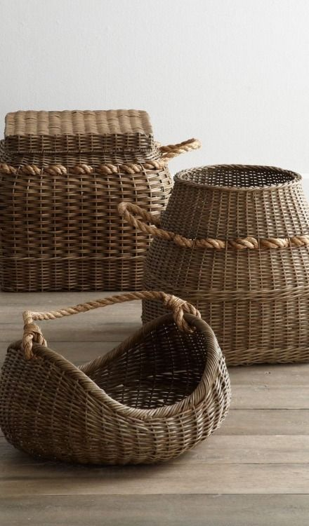 decorative, yet practical wicker baskets for extra storage and hardwood flooring