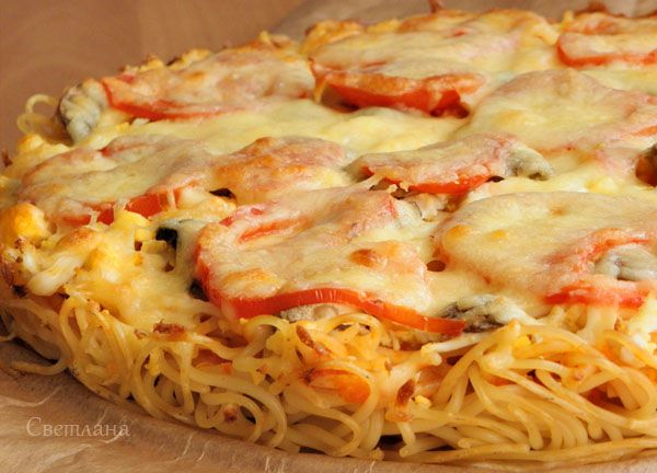 пицца из макарон (обед по системе минус 60) : Низкокалорийные рецепты