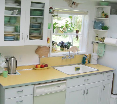 I swoon over happy 40s/50s era kitchens. Metal and glass cabinets, vintage Pyrex, percolators...
