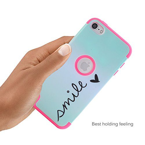 TIANLI(TM) iPod Touch 6 Case,iPod Touch 5 Case,[Smile Pattern] Dual Layer Hybrid Protective Case and Impact Resistant Silicon Hard Case Cover for Apple iPod Touch 5 6th Generation,Rose Pink
