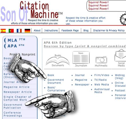 Son of Citation Machine - online tool to help you correctly cite work in APA, MLA, Chicago and Turabian style