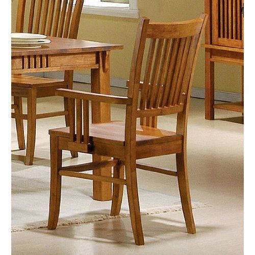Coaster Set Of 2 Dining Arm Chairs Mission Style Medium Brown Finish Made Solid Hardwood In A