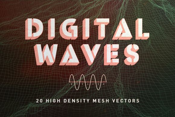 VECTOR+PNG | DIGITAL WAVES by RuleByArt on Creative Market