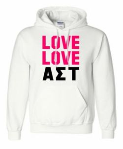 Alpha Sigma Tau Love Love Hooded Sweatshirt SALE $39.95. - Greek Clothing and Merchandise - Greek Gear®