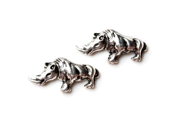 Rhino Cufflinks - Gifts for Men - Anniversary Gift - Handmade - Gift Box Included on Etsy, $35.00