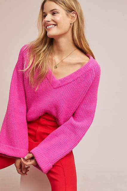 e3aa4ded4ab9 LOST INK Electric Sweater at Anthropologie  affiliate   shopping  style   anhrofave  whattowear  pink  sweater