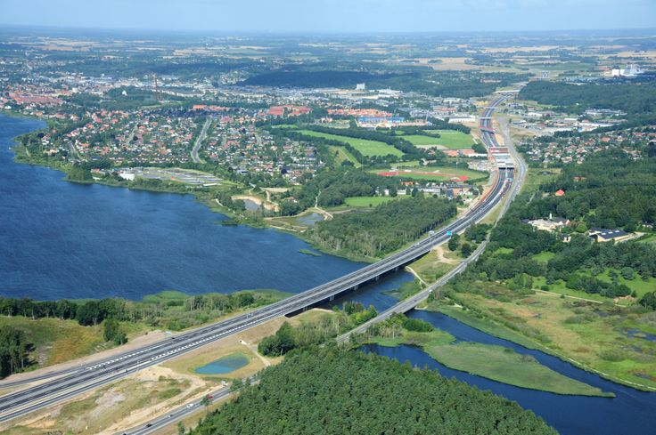 Brand new highway in Denmark through the town of Silkeborg [1000x665]