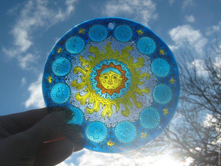 Купить Ловец солнца Под счастливой звездой Роспись по стеклу - украшение интерьера, точечная роспись