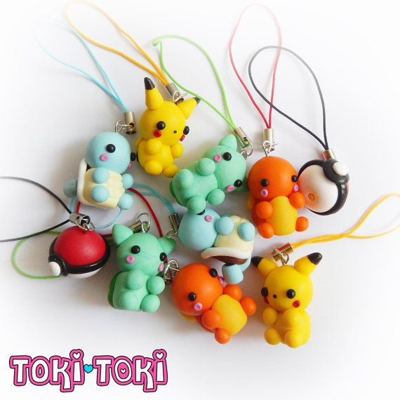 Pokemon Charms, Pikachu, Bulbasaur, Charmander, Squirtle, Pokeball, Polymer Clay…