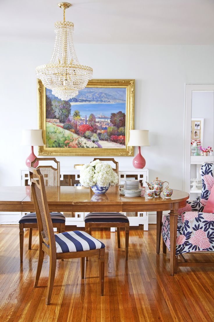 At home with Caitlin Wilson Design for Matchbook's July Issue. Photo by Courtney Apple.: Dining Rooms Chairs, Color, Eclectic Dining Rooms, Dining Chairs, Fabrics, Pink, Caitlin Wilson, Wingback Chairs, White Wall