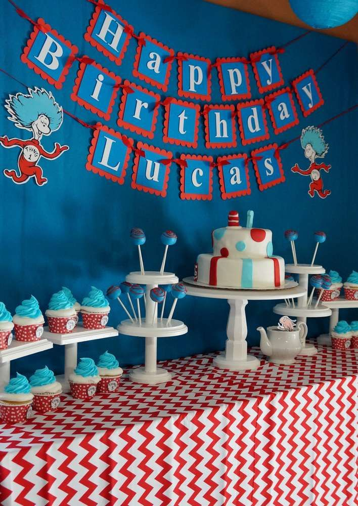 Awesome dessert table at a Dr. Seuss Cat in the Hat birthday party! See more party planning ideas at CatchMyParty.com!
