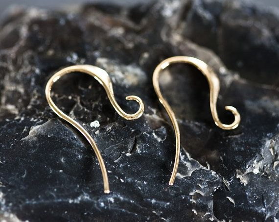 1215_Polished gold earwires, Earrings hooks, Earring component, Glossy earring…