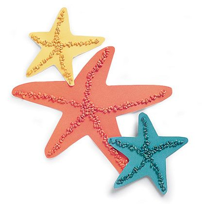 star fish, craft foam as background, then colored rice or beans to make design