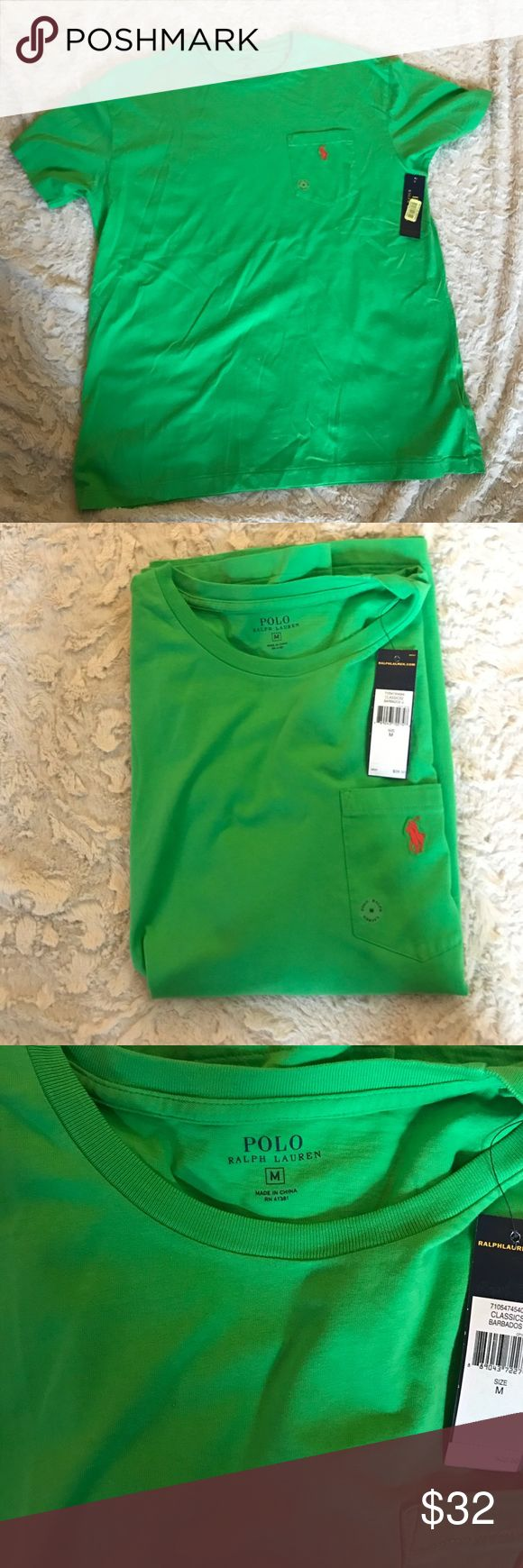 NWT Polo Ralph Lauren Men's Shirt Size Medium New with Tags Color Green Short Sleeve 100% Cotton Shirt.  I Guarantee Authentication Of this Nice Shirt. Please Check My Other Listings And Make A Bundle. Polo by Ralph Lauren Shirts Tees - Short Sleeve