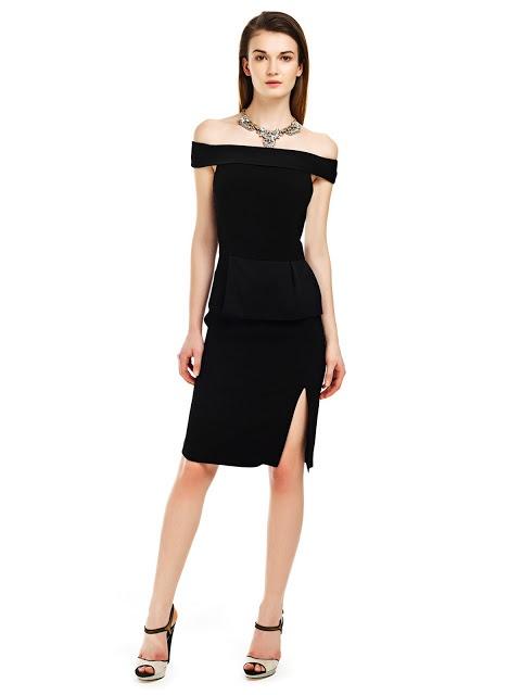 siyah elbise, yırtmaçlı elbise, gece elbisesi, peplum elbise, straplez elbise, dekolkteli elbise